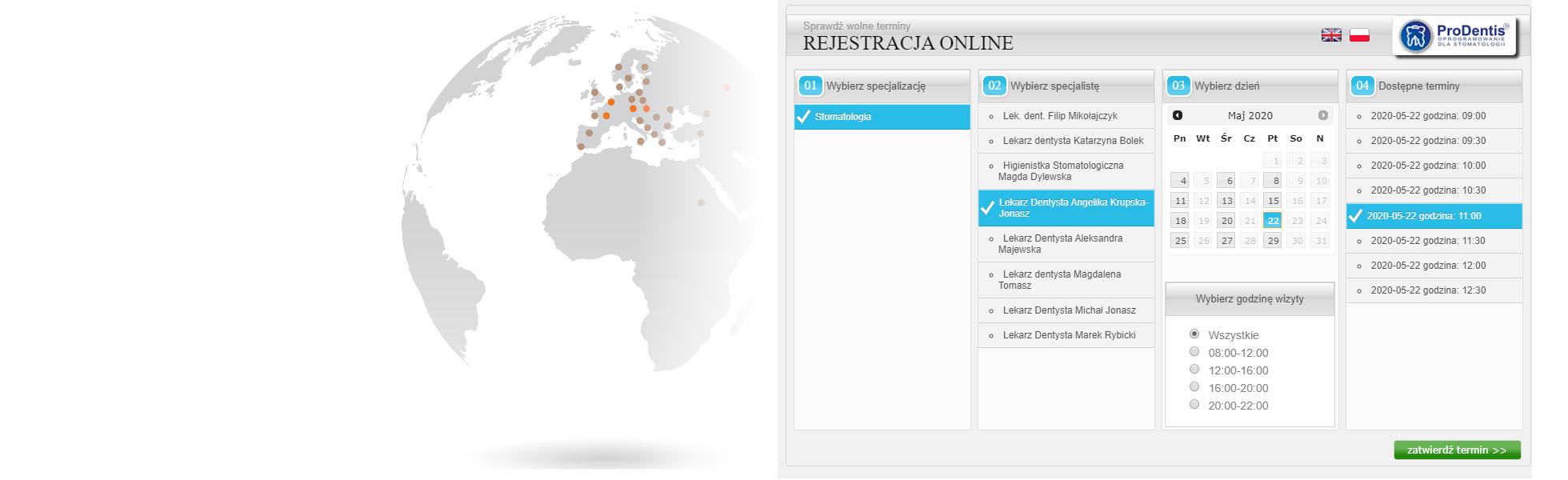 Rejestracja online / Online schedule