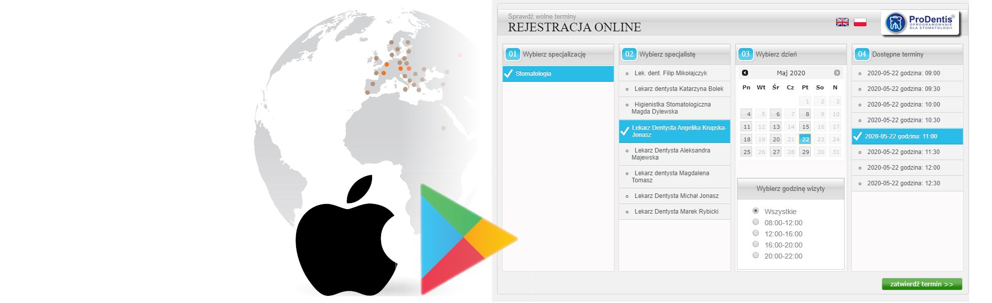 Rejestracja online lub Apka / Online Registration or App